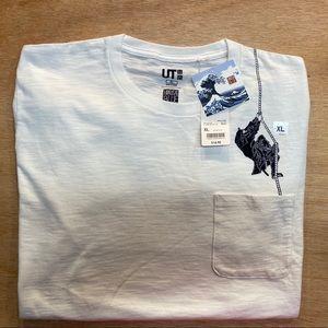 UNIQLO T Shirt HOKUSAI BLUE XL